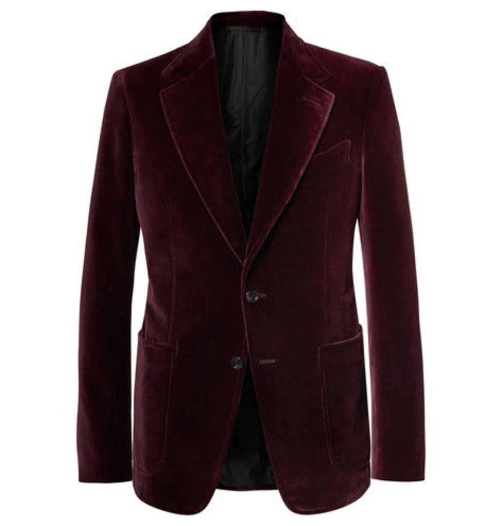 Burgundy Shelton Slim-fit Velvet Tuxedo Jacket
