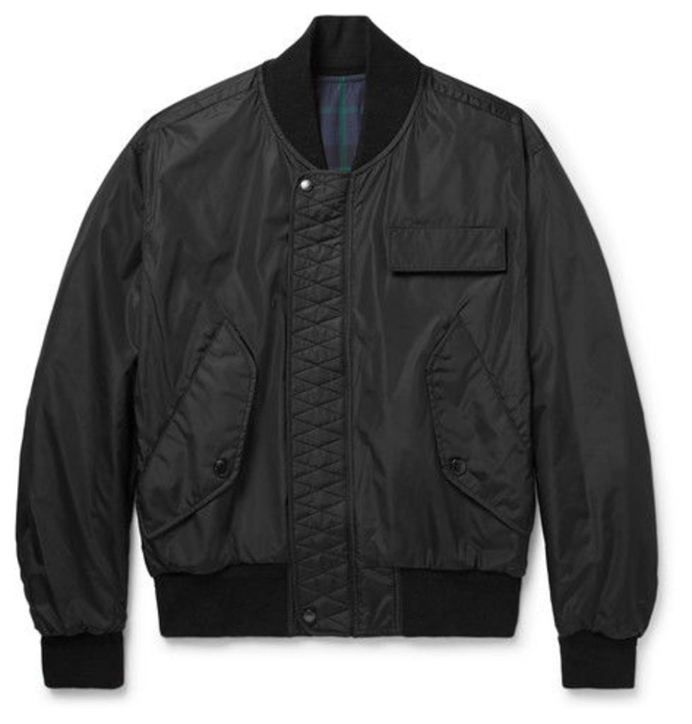 Reversible Black Watch Checked Cotton-twill Bomber Jacket