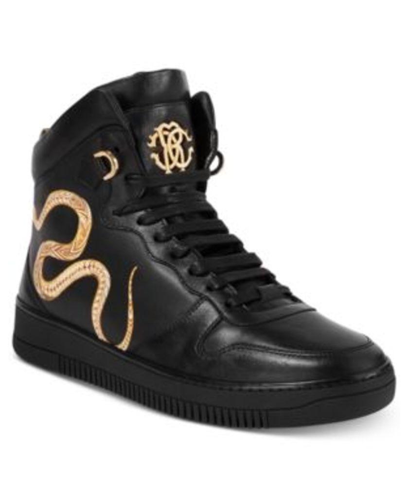 Roberto Cavalli Men's Leather Gold Hightop Sneakers Men's Shoes
