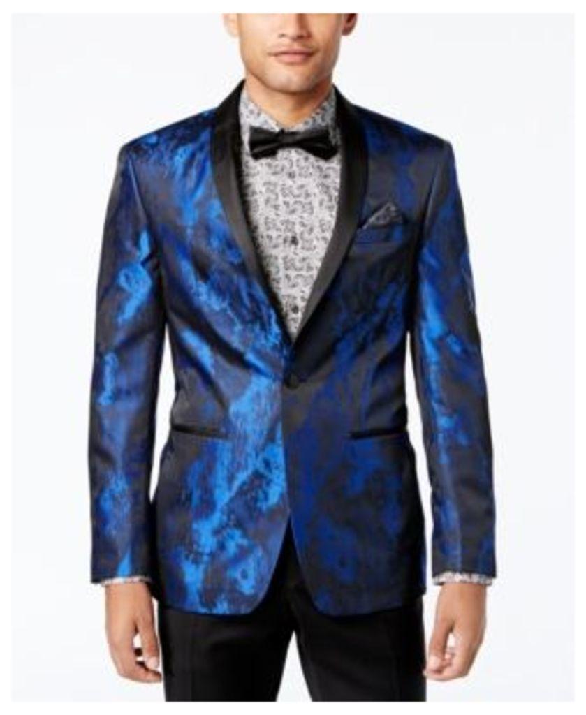 Tallia Orange Men's Slim-Fit Electric Blue/Black Abstract Dinner Jacket