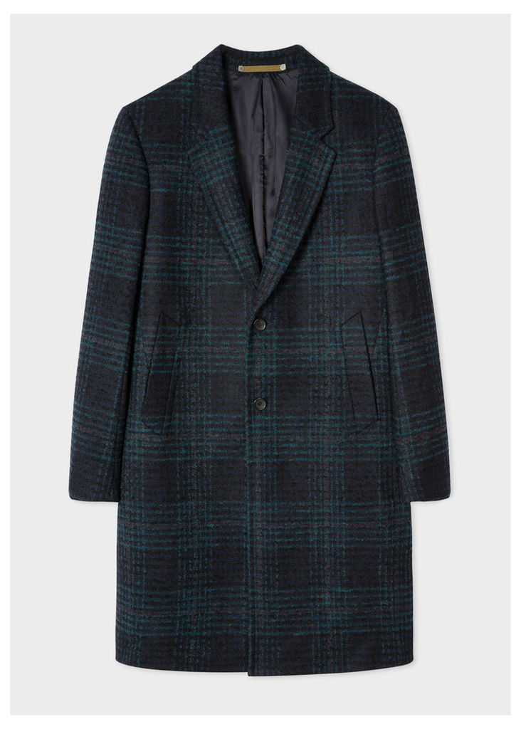 Men's Navy Check Wool-Blend Epsom Coat