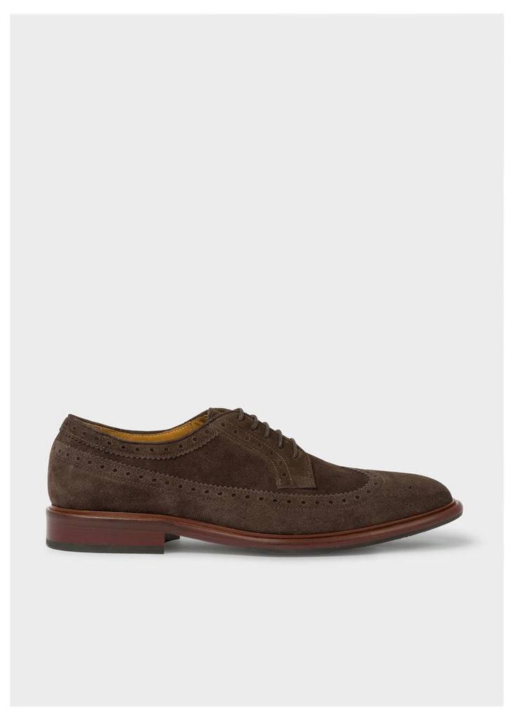 Men's Dark Brown Suede Leather 'Malloy' Brogues