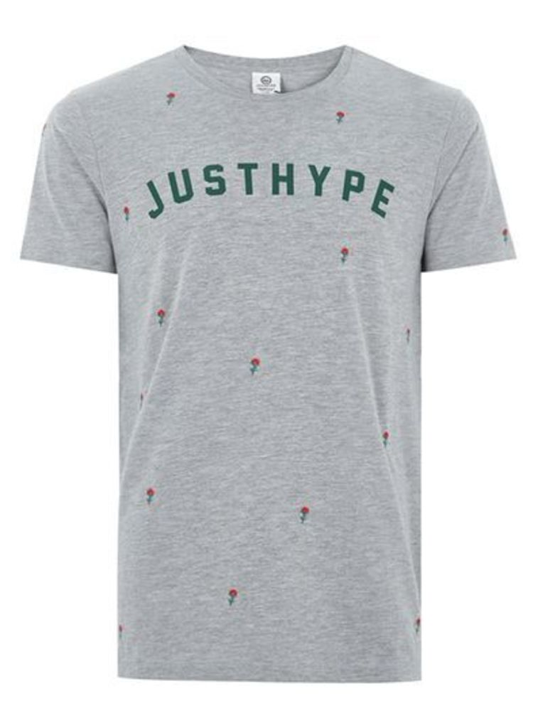 Mens HYPE Grey 'Scattered Rose' T-Shirt*, Grey
