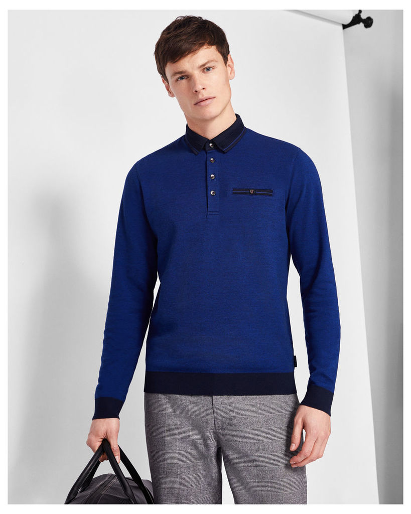 Ted Baker Ribstart cotton polo shirt Bright Blue