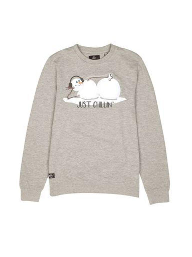 Mens Threadbare Grey 'Just Chillin' Christmas Sweatshirt*, Grey