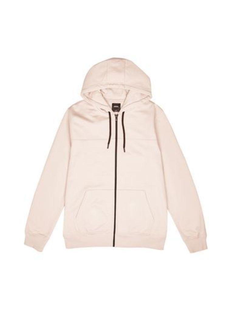 Mens Pale Pink Zip-Through Hoodie, PINK