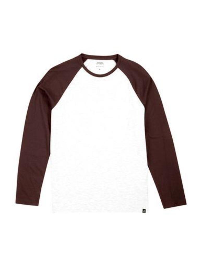 Mens Burgundy and Frost Grey Long Sleeve Longline Raglan T-Shirt, Burgundy