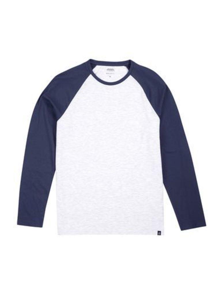 Mens Navy and Frost Grey Long Sleeve Longline Raglan T-Shirt, Blue