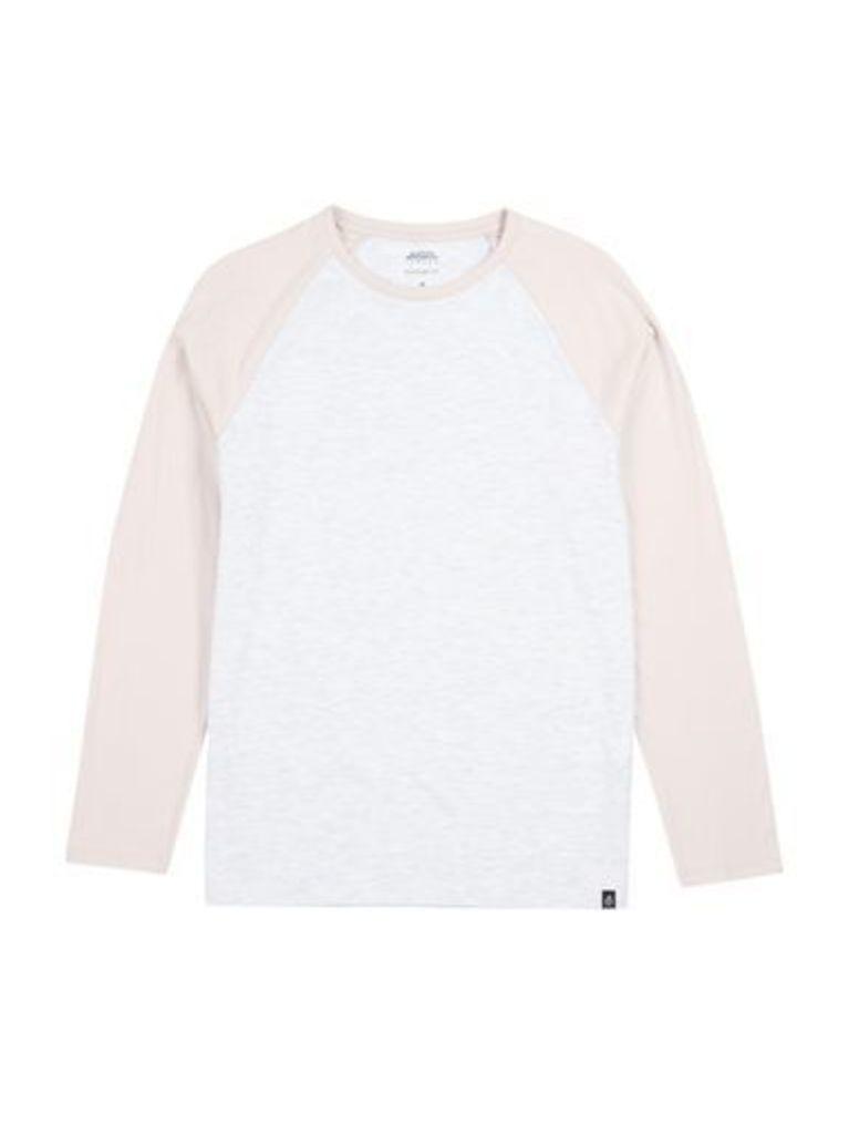 Mens Pink and Frost Grey Long Sleeve Raglan T-Shirt, Pink