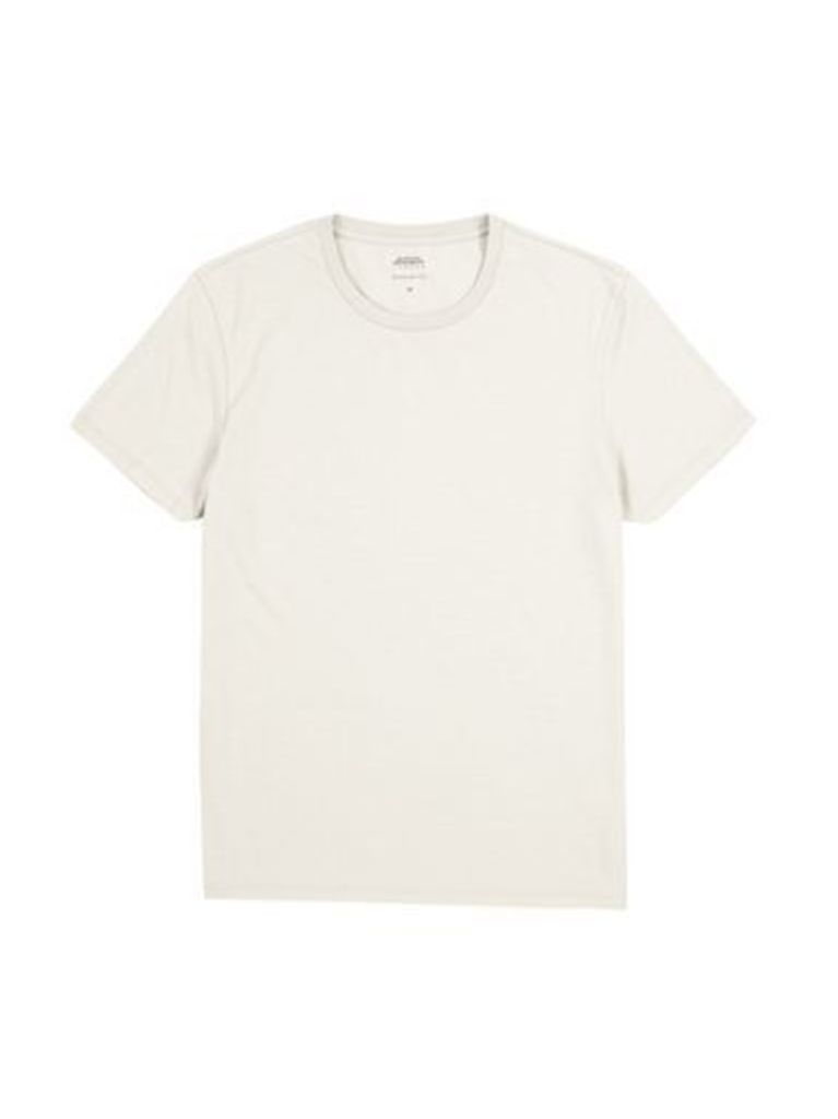 Mens Dove Marl Crew Neck T-Shirt, Cream