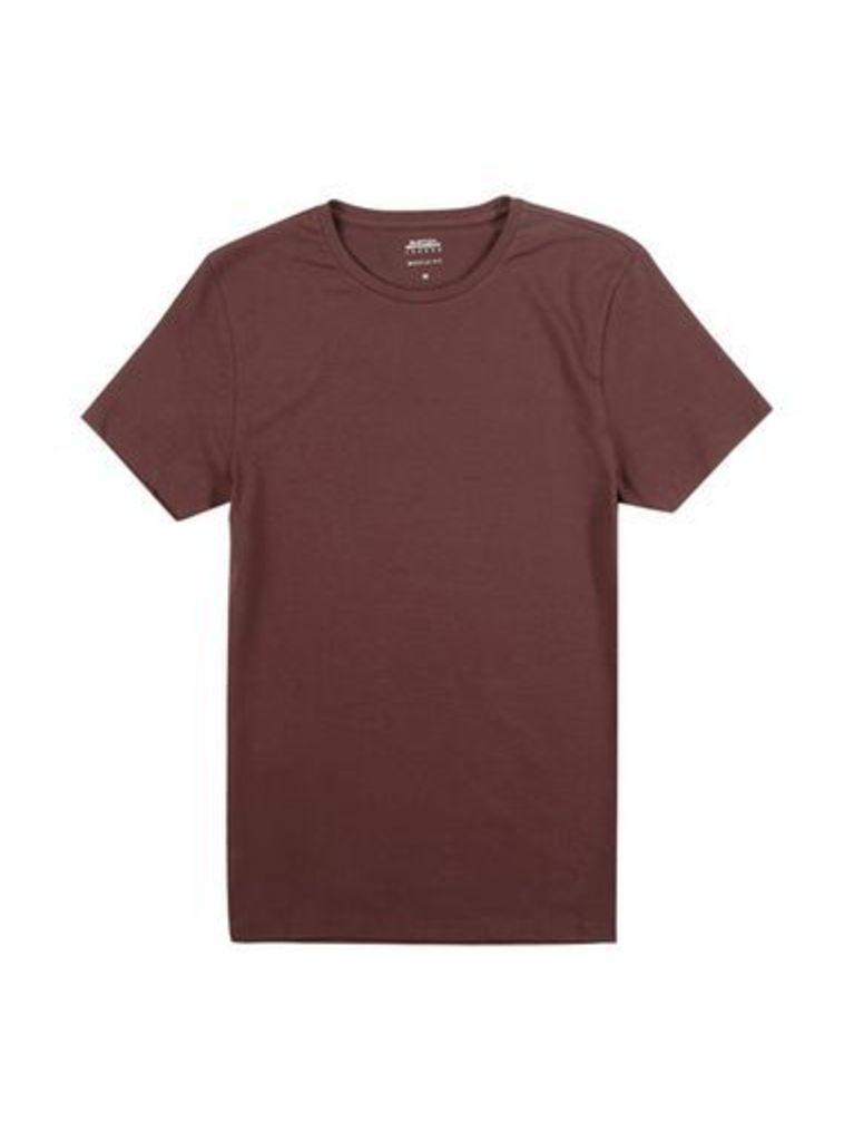 Mens Raisin Muscle Fit Crew Neck T-Shirt, Burgundy