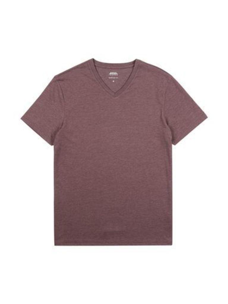 Mens Raisin Marl V-Neck T-Shirt, Burgundy