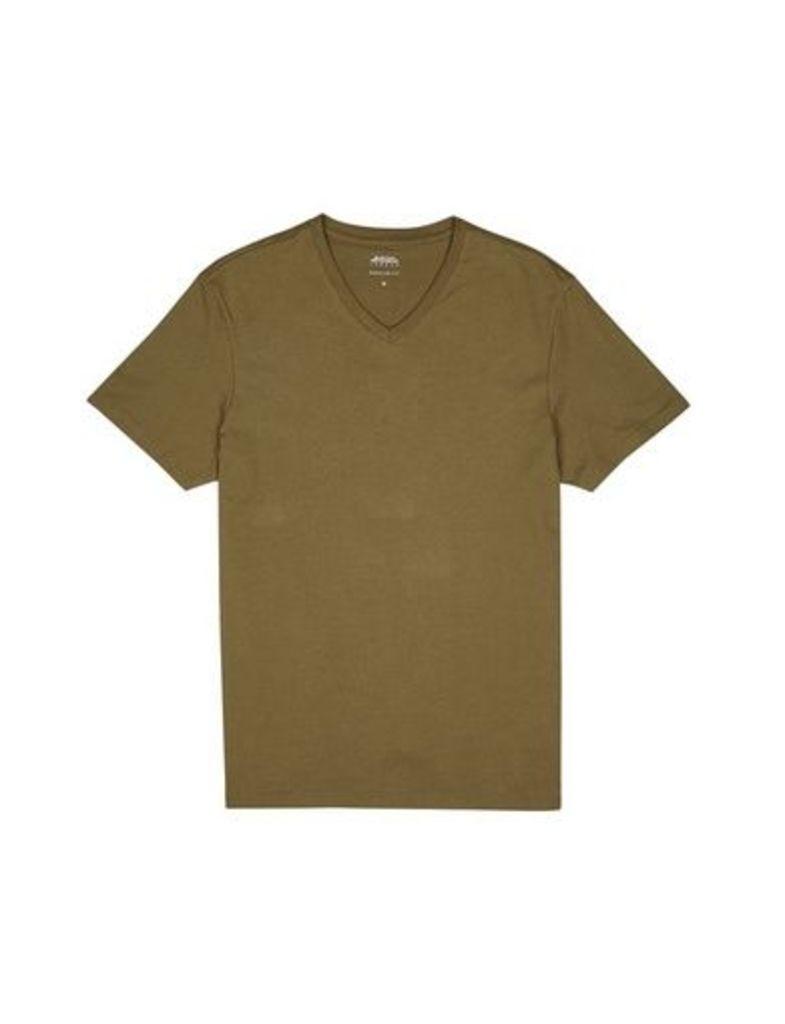 Mens Khaki V-Neck T-Shirt, Khaki