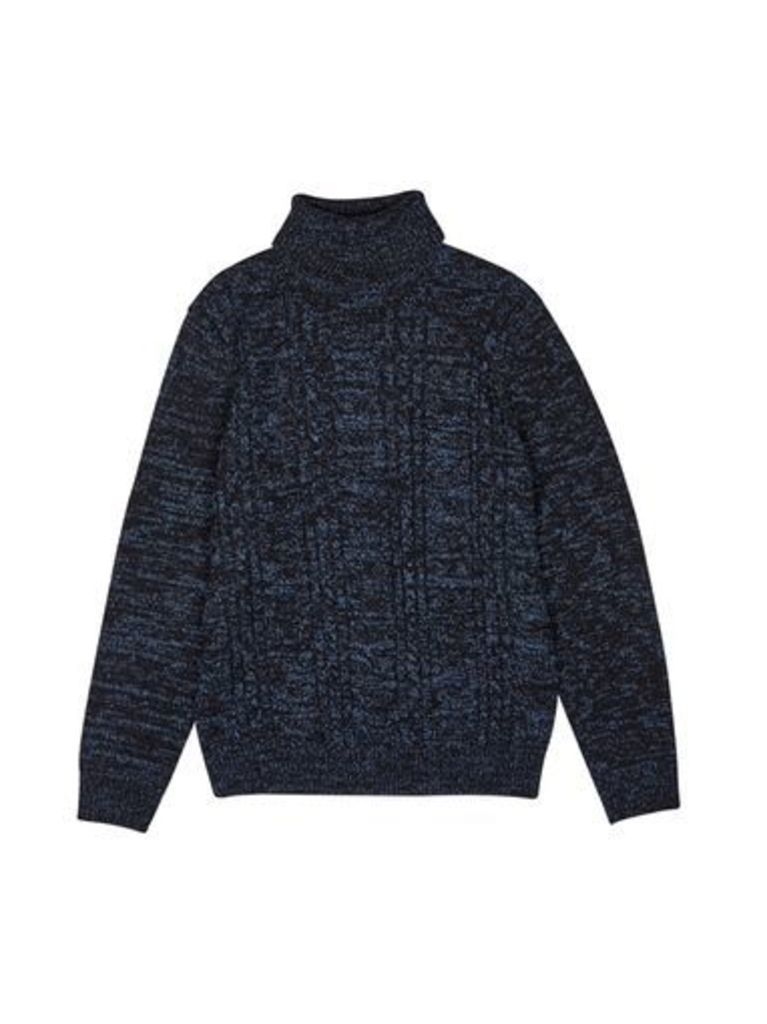Mens Cable Knit Roll Neck Jumper, Blue