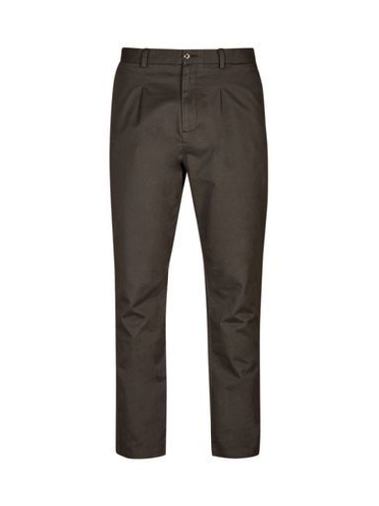 Mens Charcoal Tapered Fit Washed Chinos, CHARCOAL