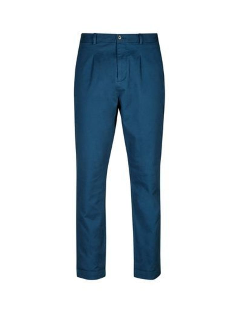 Mens Blue Tapered Fit Washed Chinos, Blue