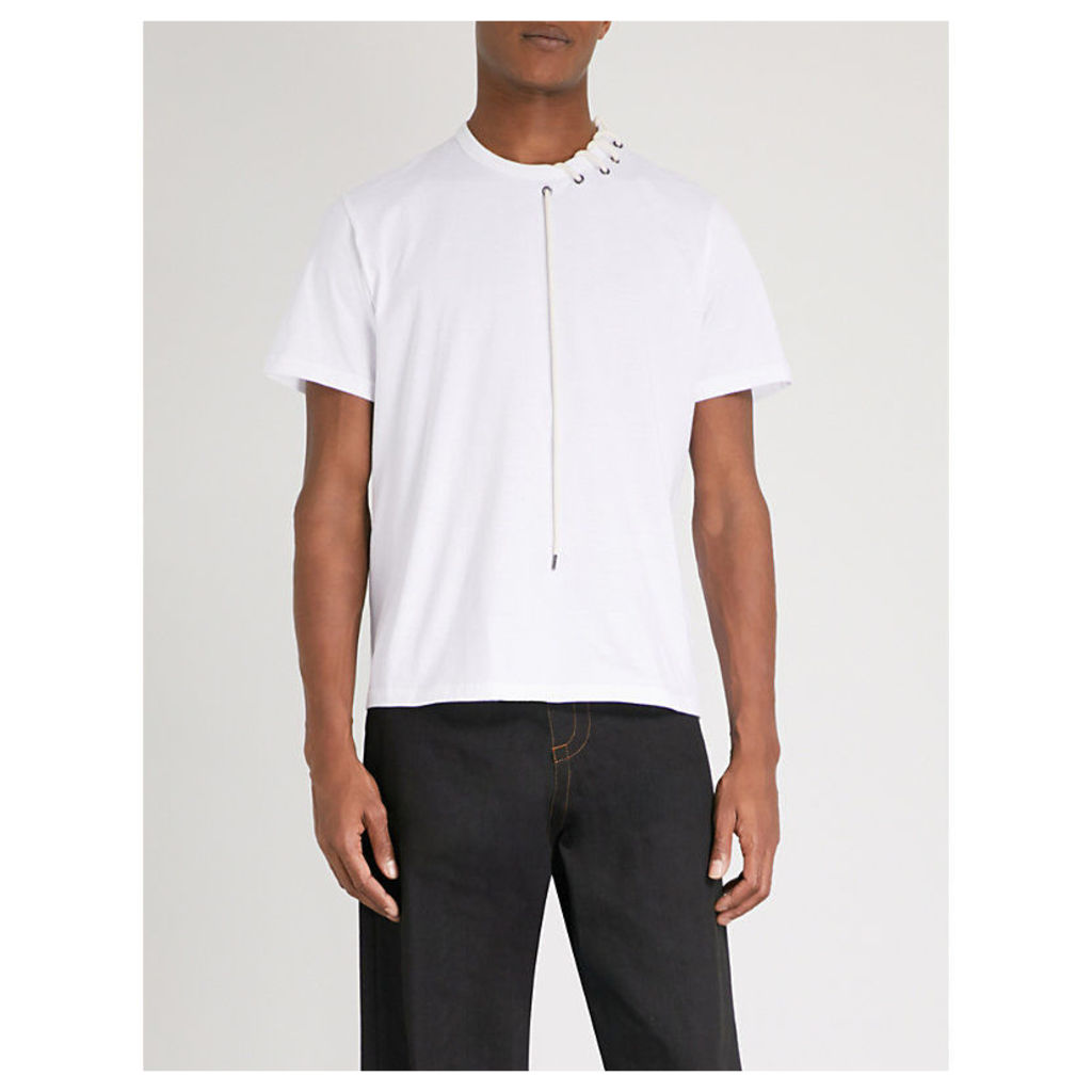 Laced-neck cotton-jersey T-shirt