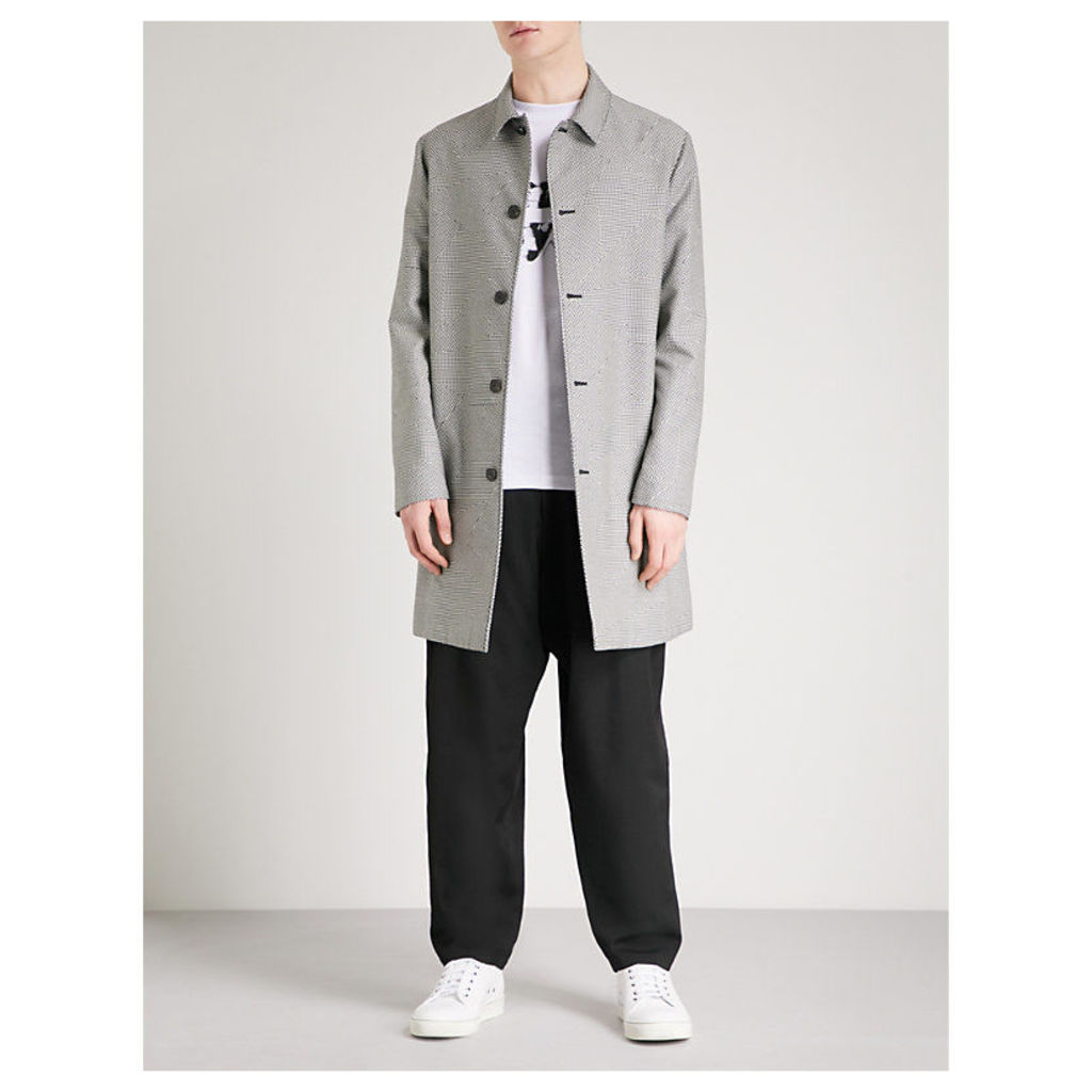Abstract houndstooth-patterned cotton-blend car coat