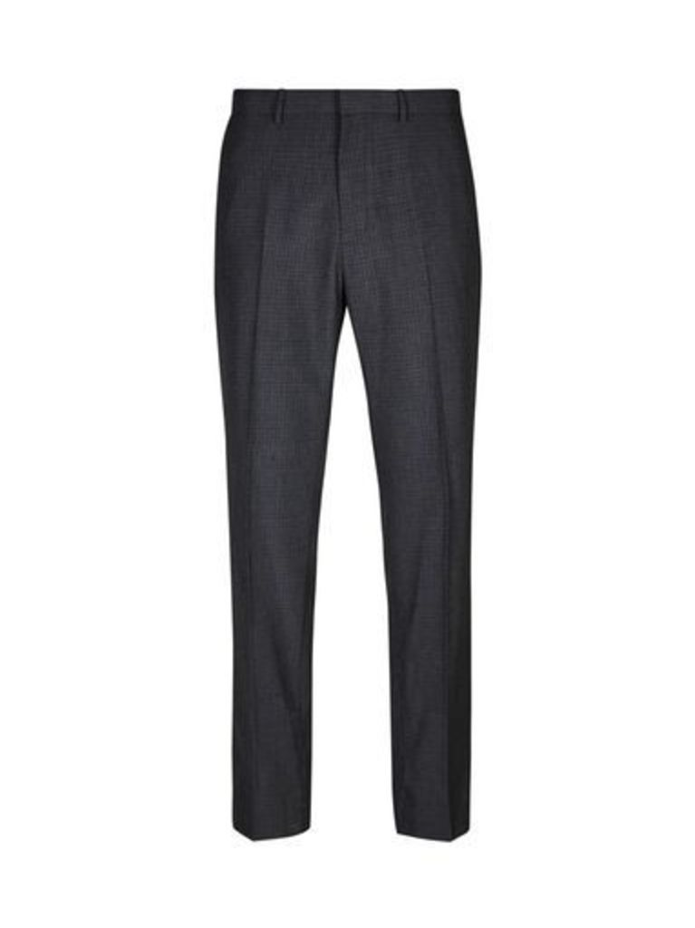 Mens Grey Wool Blend Skinny Fit Checked Trousers, Grey
