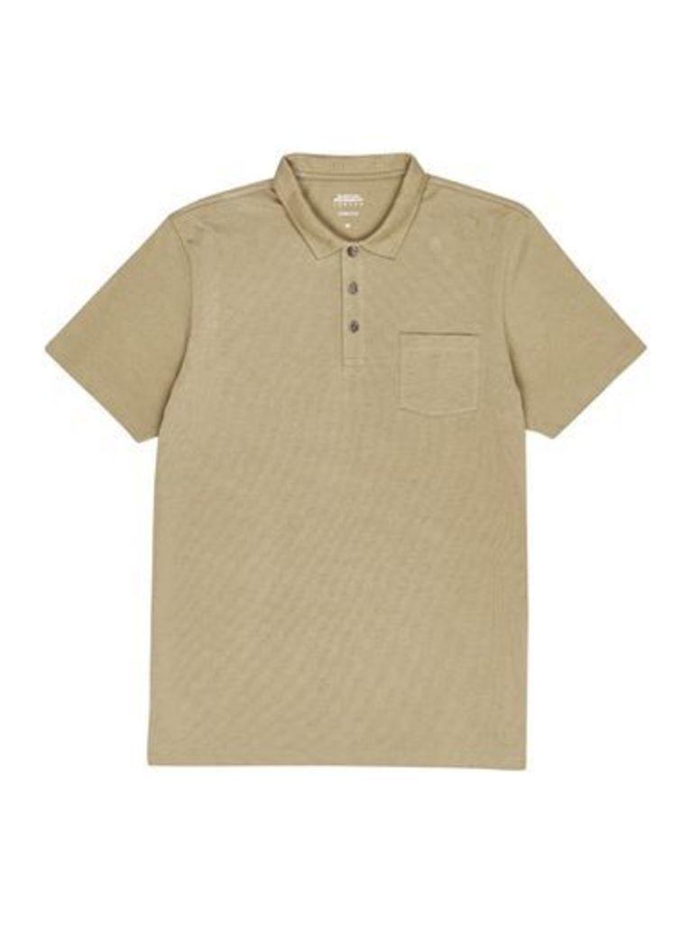 Mens Khaki Stretch Polo Shirt, Khaki