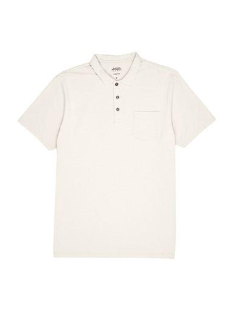 Mens Light Grey Stretch Polo Shirt, Grey
