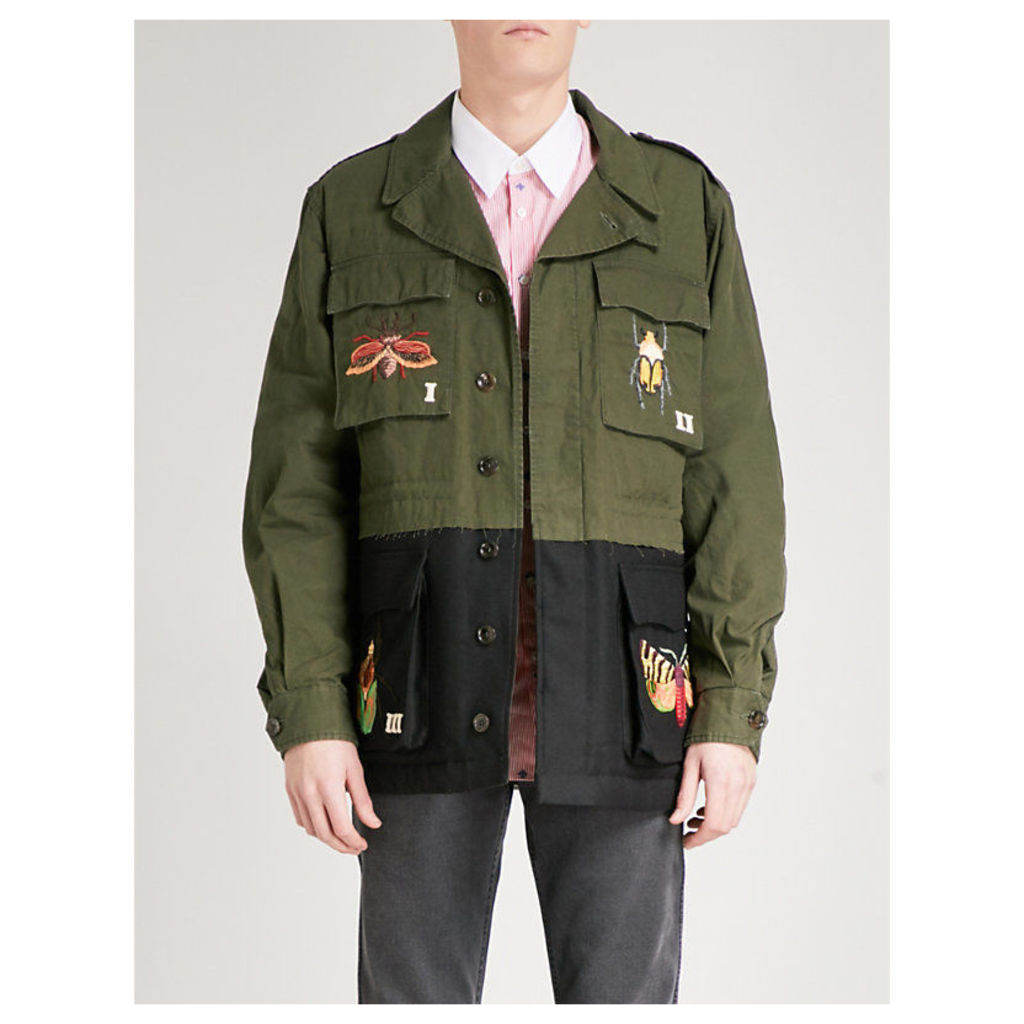 Insect-embroidered cotton and wool jacket