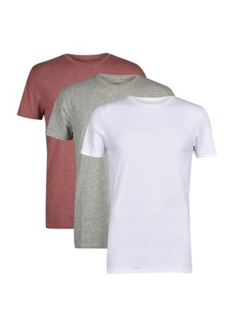 Mens 3 Pack White, Grey And Berry Basic T-Shirts, White