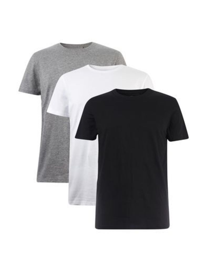 Mens 3 Pack Black, White and Grey Basic T-Shirts, Grey