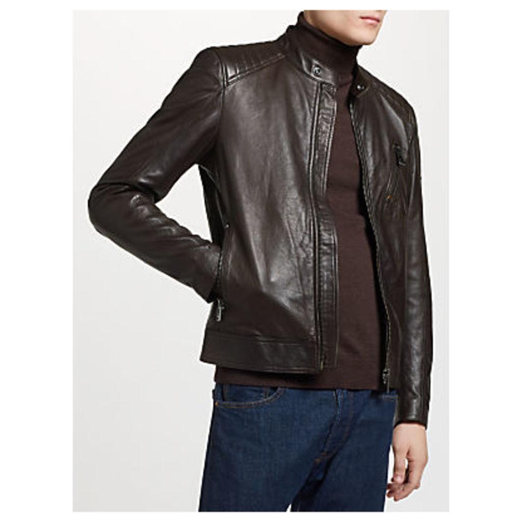 Belstaff Racer Leather Jacket, Dark Brown