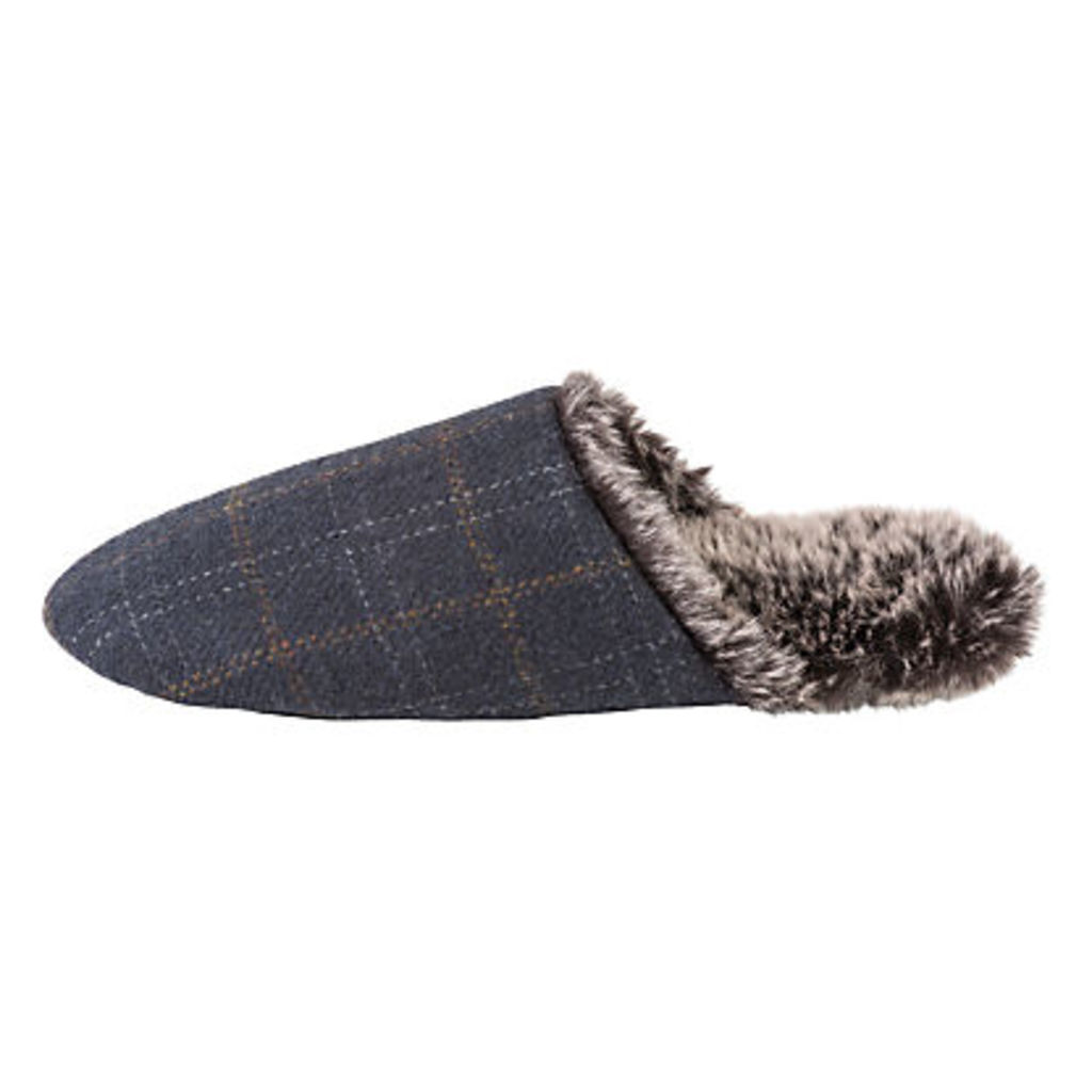 Totes Check Faux Fur Lined Mule Slippers