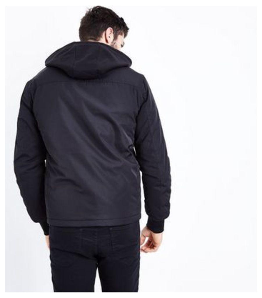 Black Jersey Hooded Bomber Jacket New Look