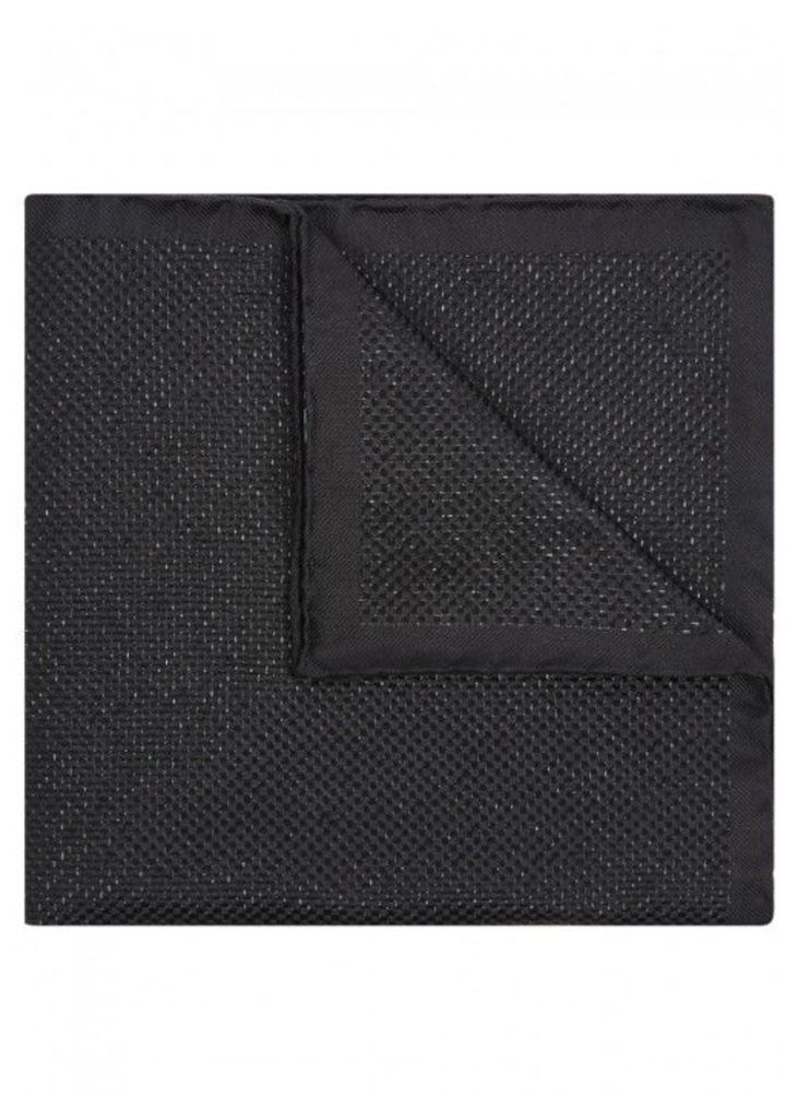 Eton Black Silk Blend Pocket Square