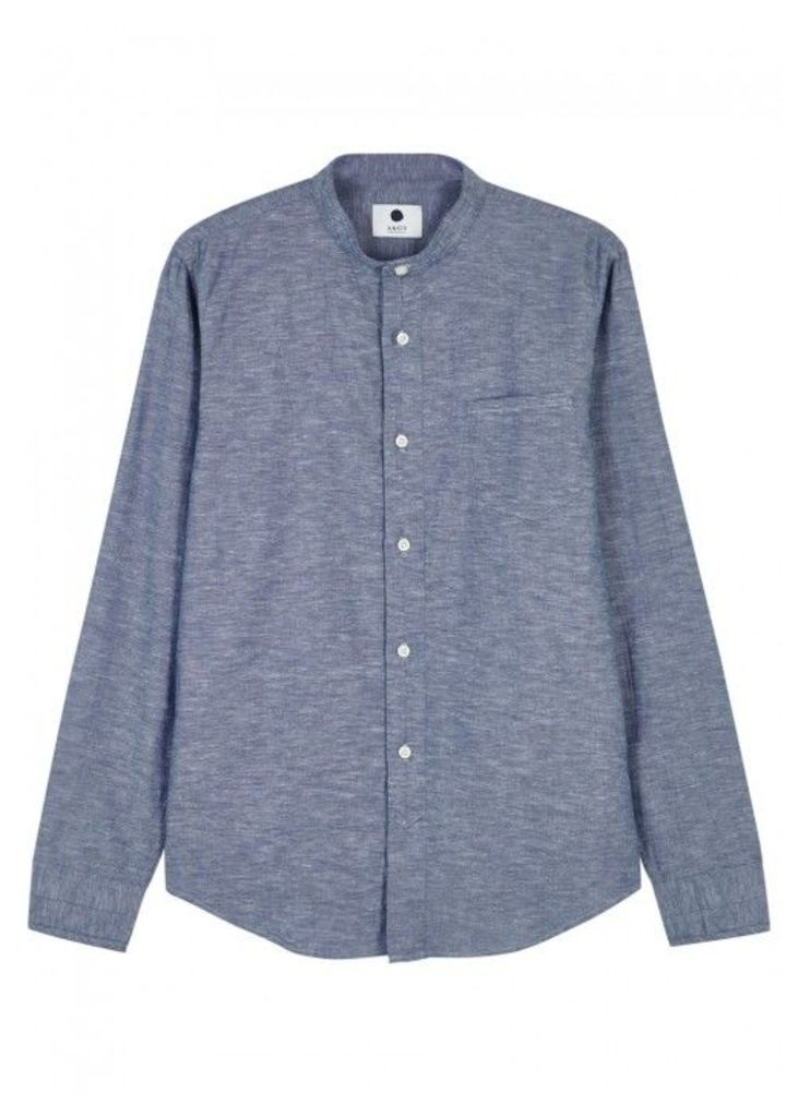 NN07 Samuel Grandad-collar Cotton Shirt - Size XL