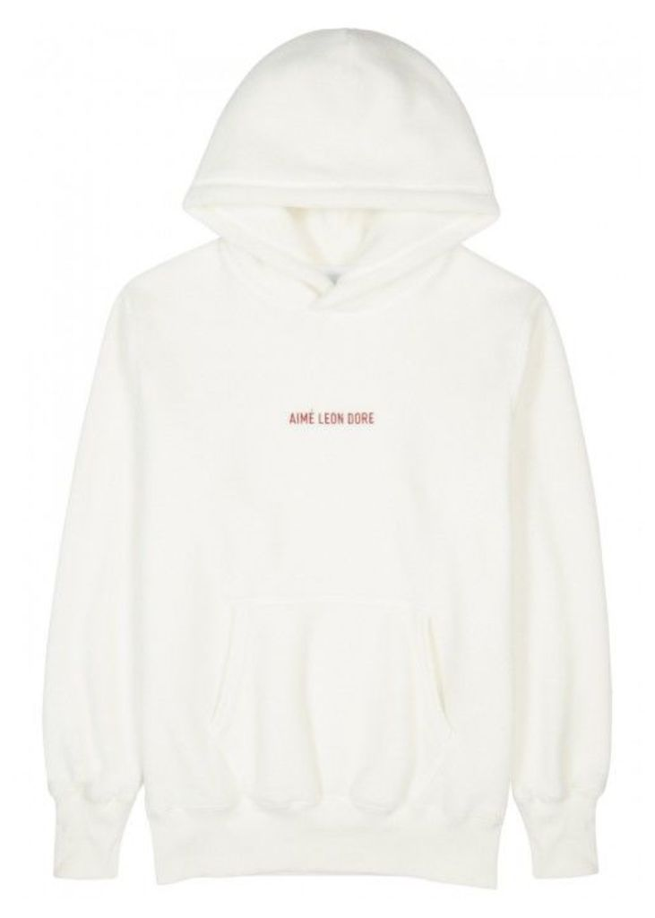 Aimé Leon Dore White Embroidered Fleece Sweatshirt - Size S