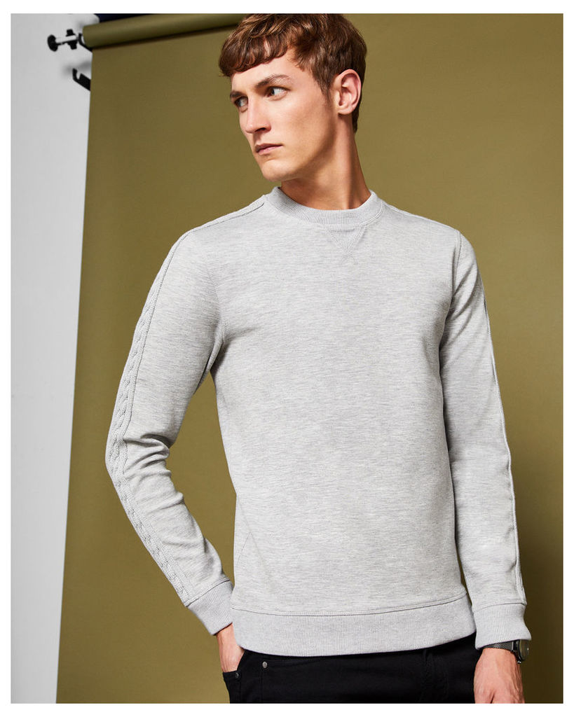 Ted Baker Knitted panel detail sweatshirt Light Grey