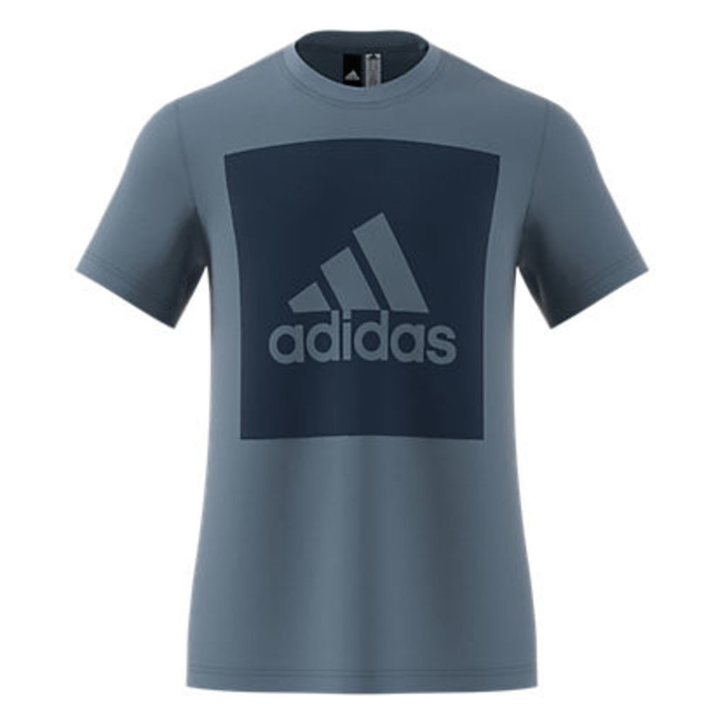 Adidas Essentials Box Logo T-Shirt, Raw Steel