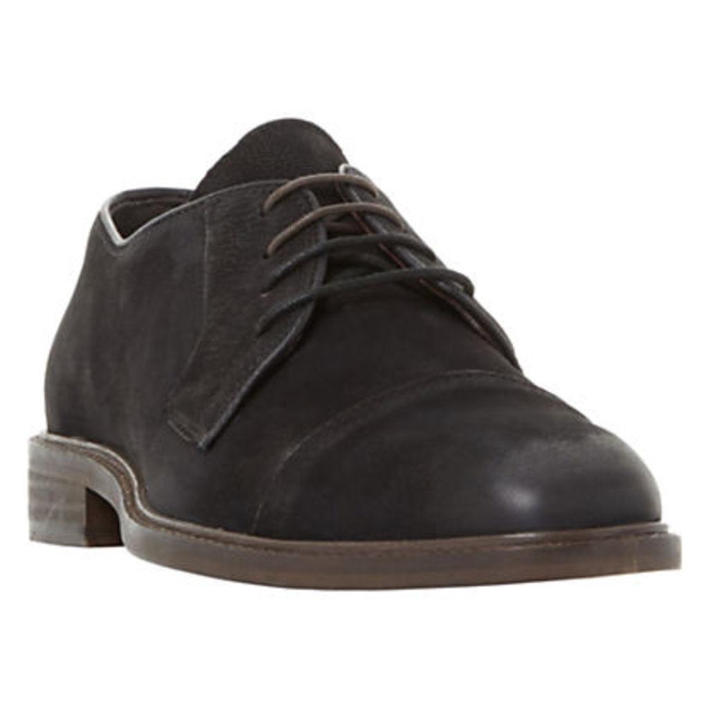 Bertie Bromine Waxy Stitched Toecap Derby Shoes, Black