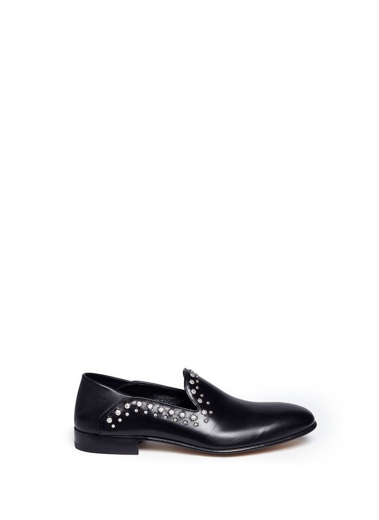 Hammered stud leather loafers