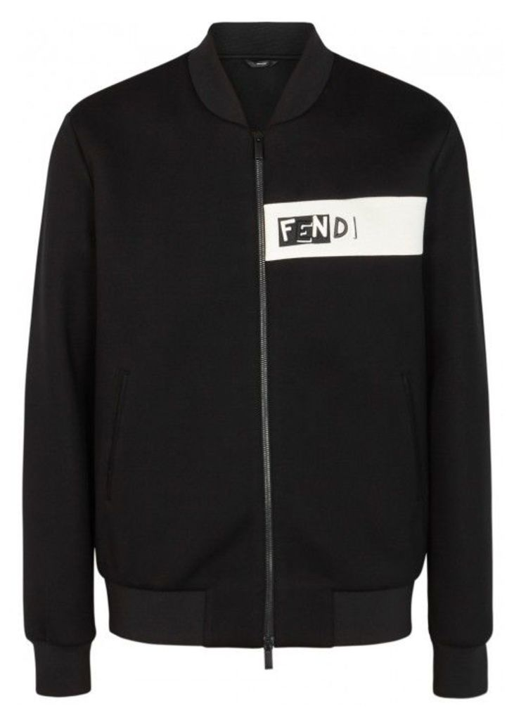Fendi Shadow Black Neoprene Bomber Jacket - Size 40