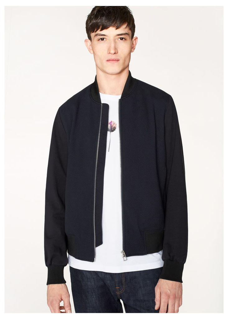 Men's Navy And Black Cotton Bomber Jacket