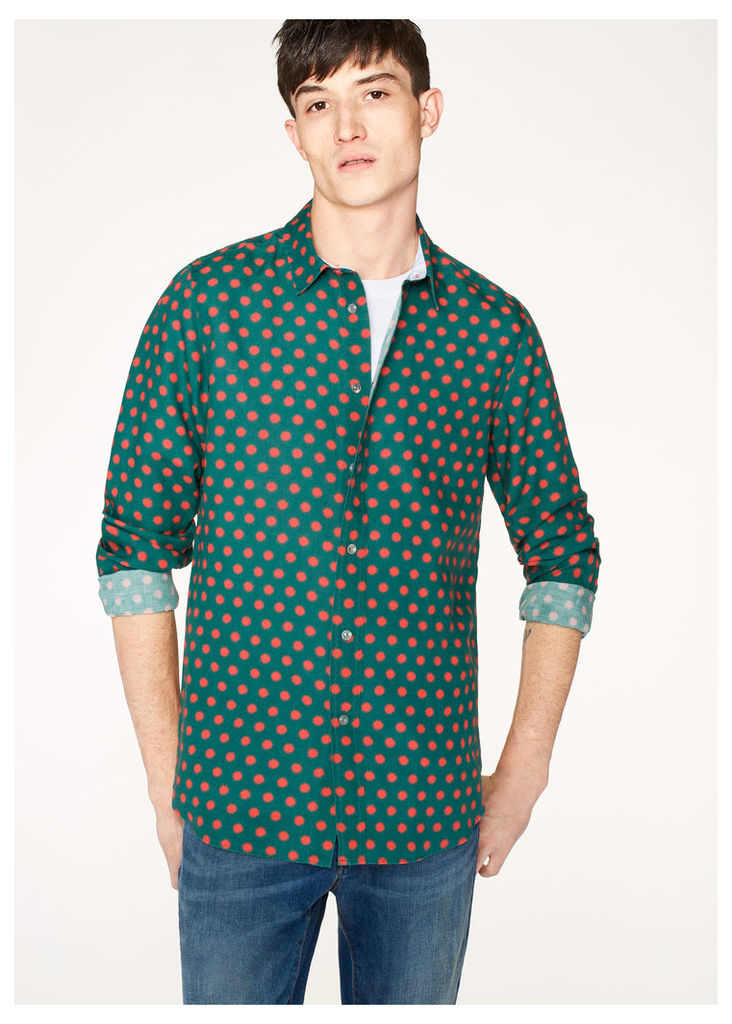 Men's Slim-Fit Green 'Supernova' Print Linen-Blend Shirt