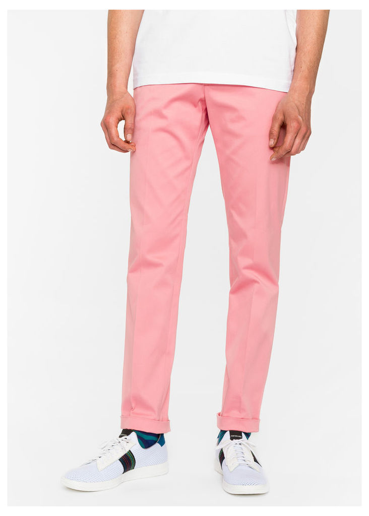 Men's Slim-Fit Pink Cotton-Twill Stretch Chinos