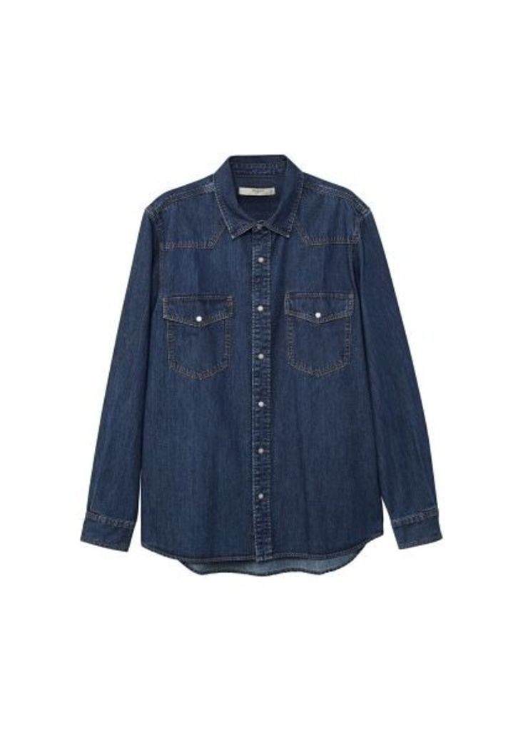 Dark wash regular-fit denim shirt