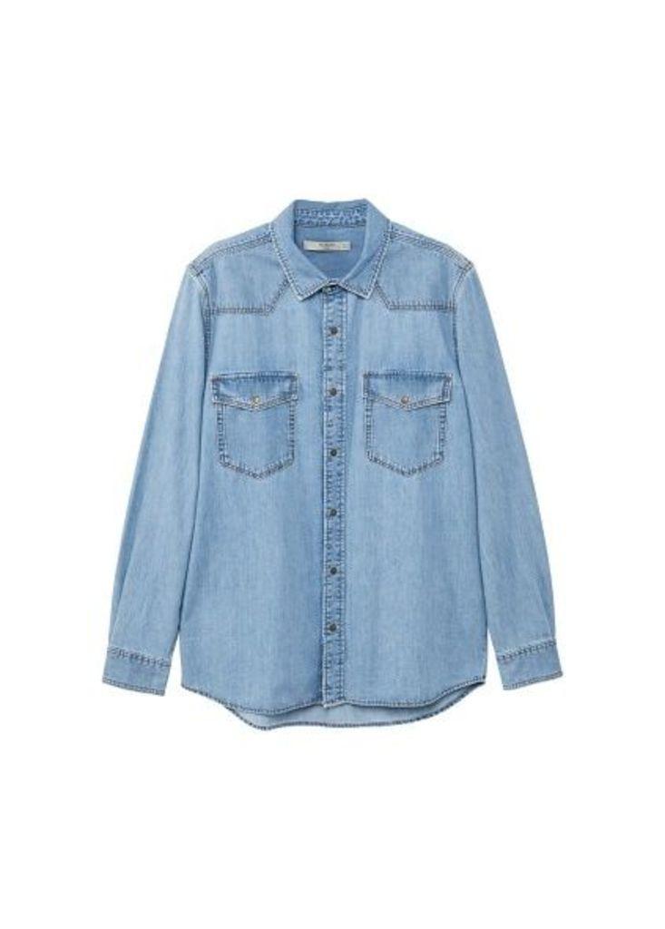 Light wash regular-fit denim shirt