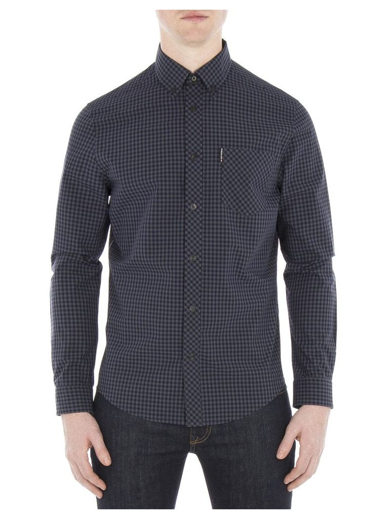 Long Sleeve Gingham Shirt 4XL C97 Phantom