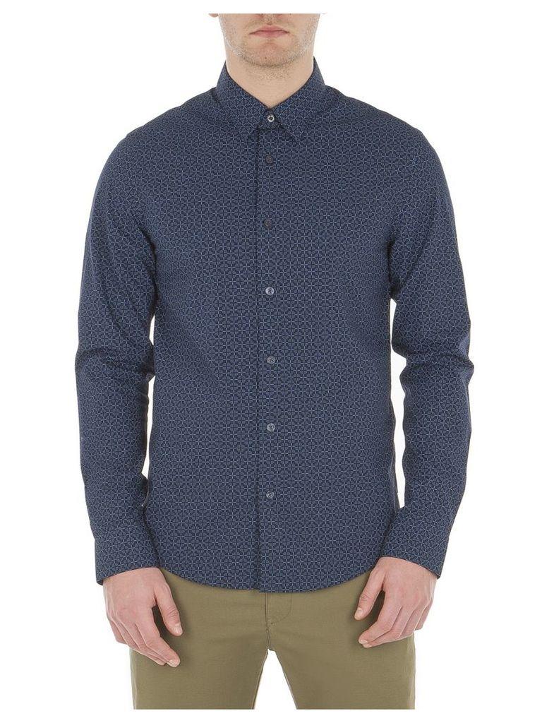 Long Sleeve Optic Chequerboard Shirt Lge B51 Navy Blazer
