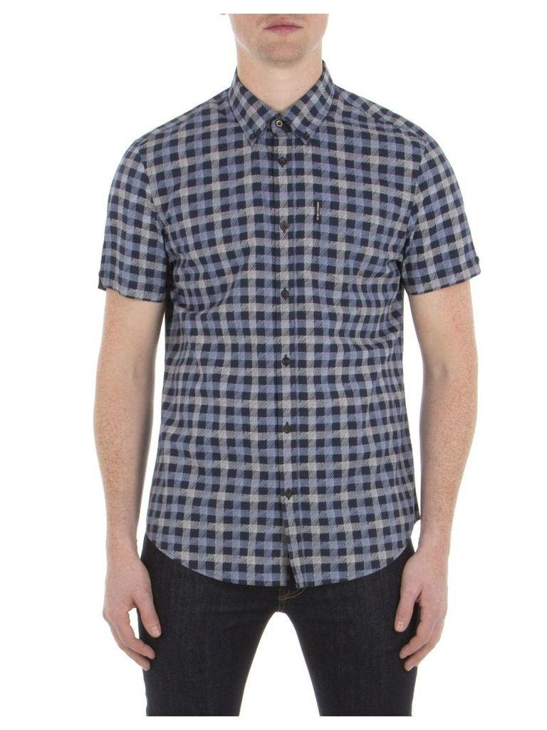 Short Sleeve Sketched House Gingham Shirt XXL B51 Navy Blazer
