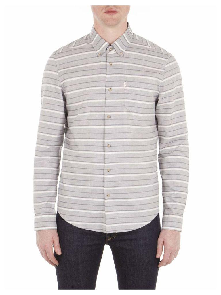 Long Sleeve Tipping Horz Stripe Marl Shirt 5XL EM8 Light Ash Marl