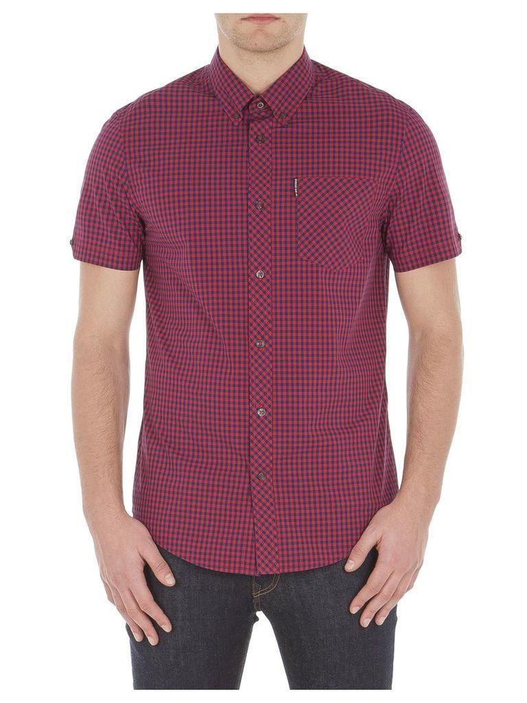 Short Sleeve Core Gingham Shirt 4XL 149 Red