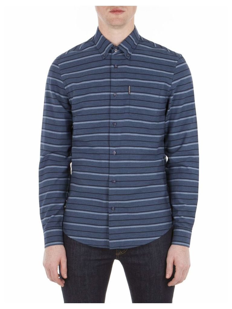 Long Sleeve Tipping Horz Stripe Marl Shirt XS 63B Indigo Blue Marl